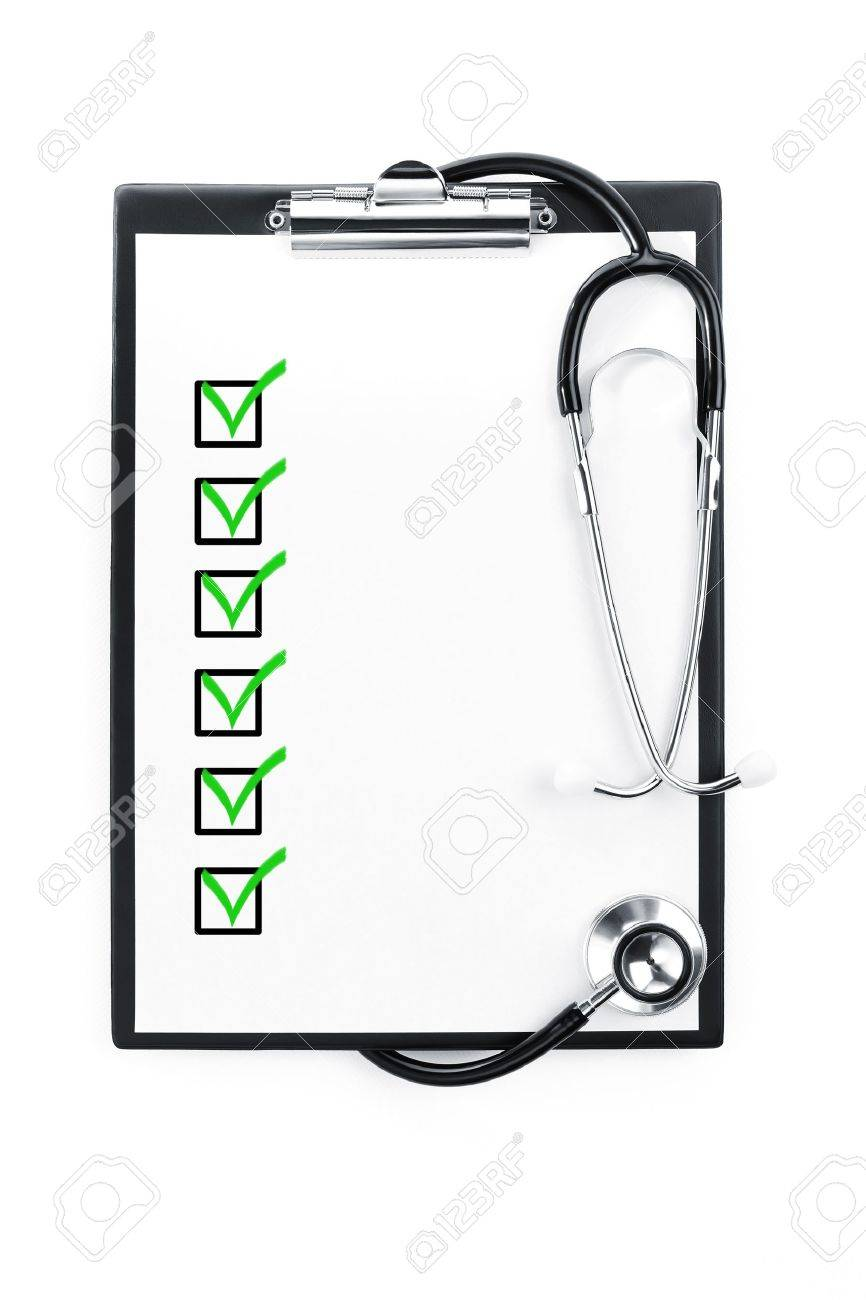 Clipboard with checklist and stethoscope isolated with path included Stock Photo - 10828256