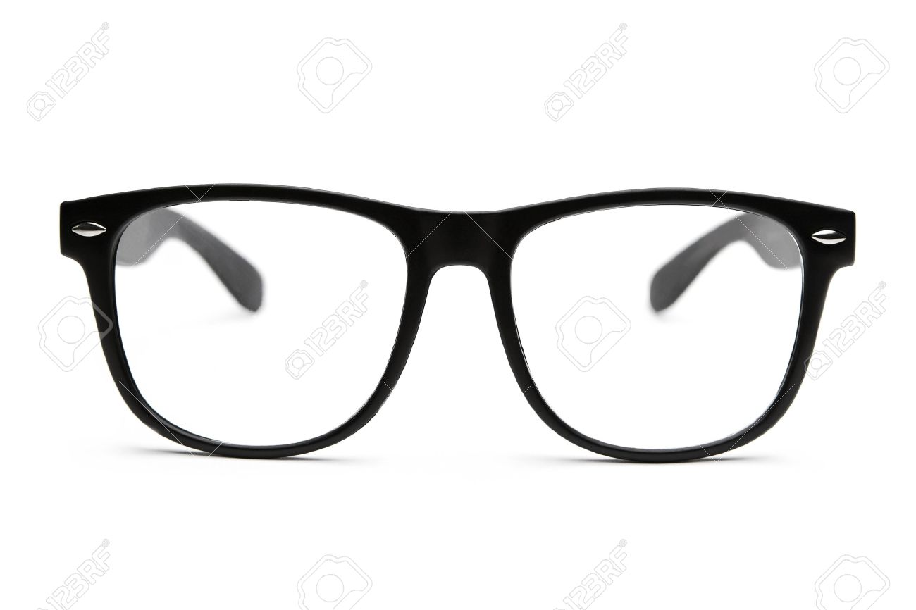 27d6e14cb64ba5 Black retro nerd glasses on white background Stock Photo - 10983009