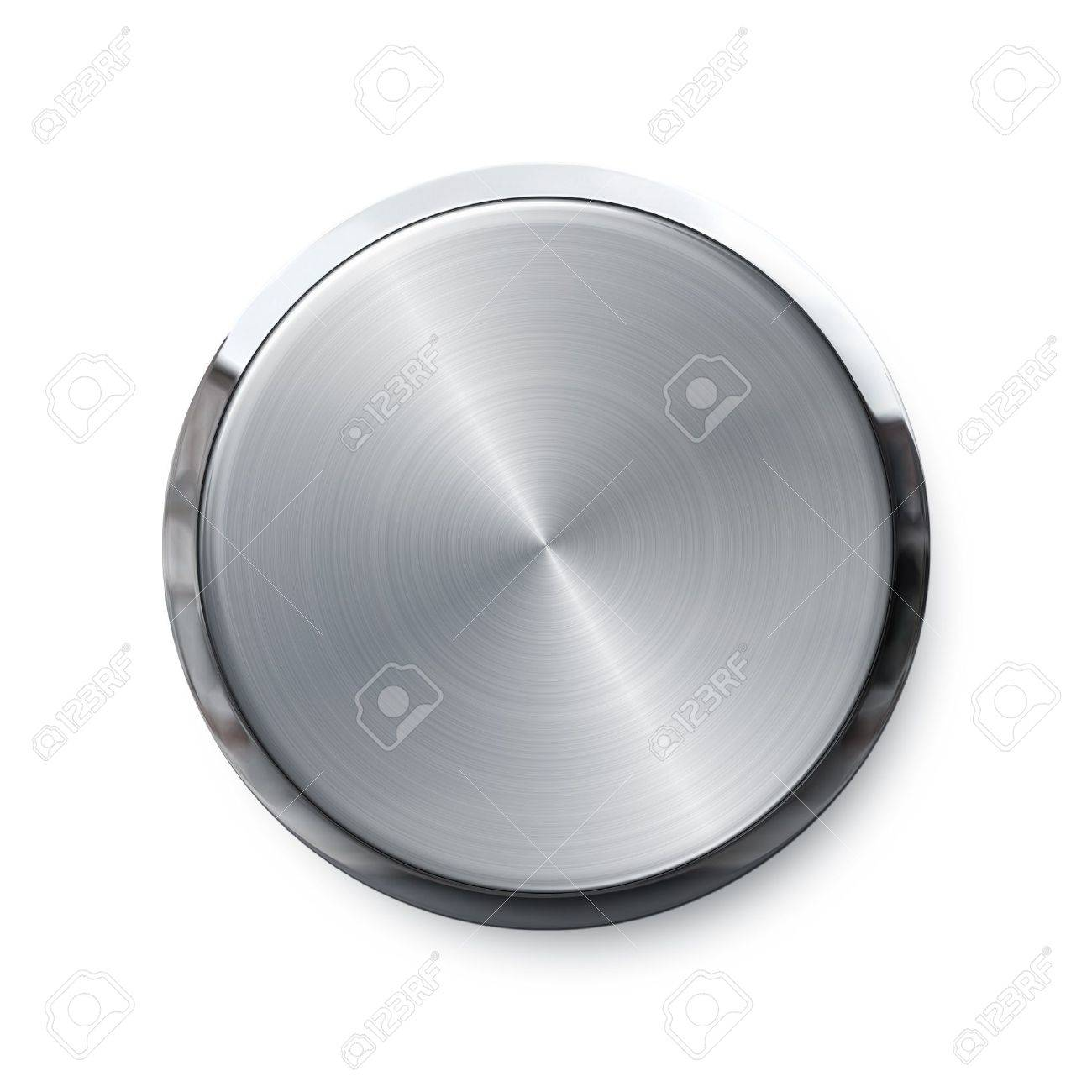 Blank silver shiny push button Stock Photo - 10983016
