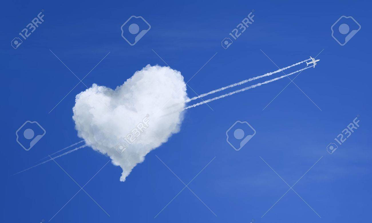 Airplane Flying in Clouds Airplane Flying Through Heart