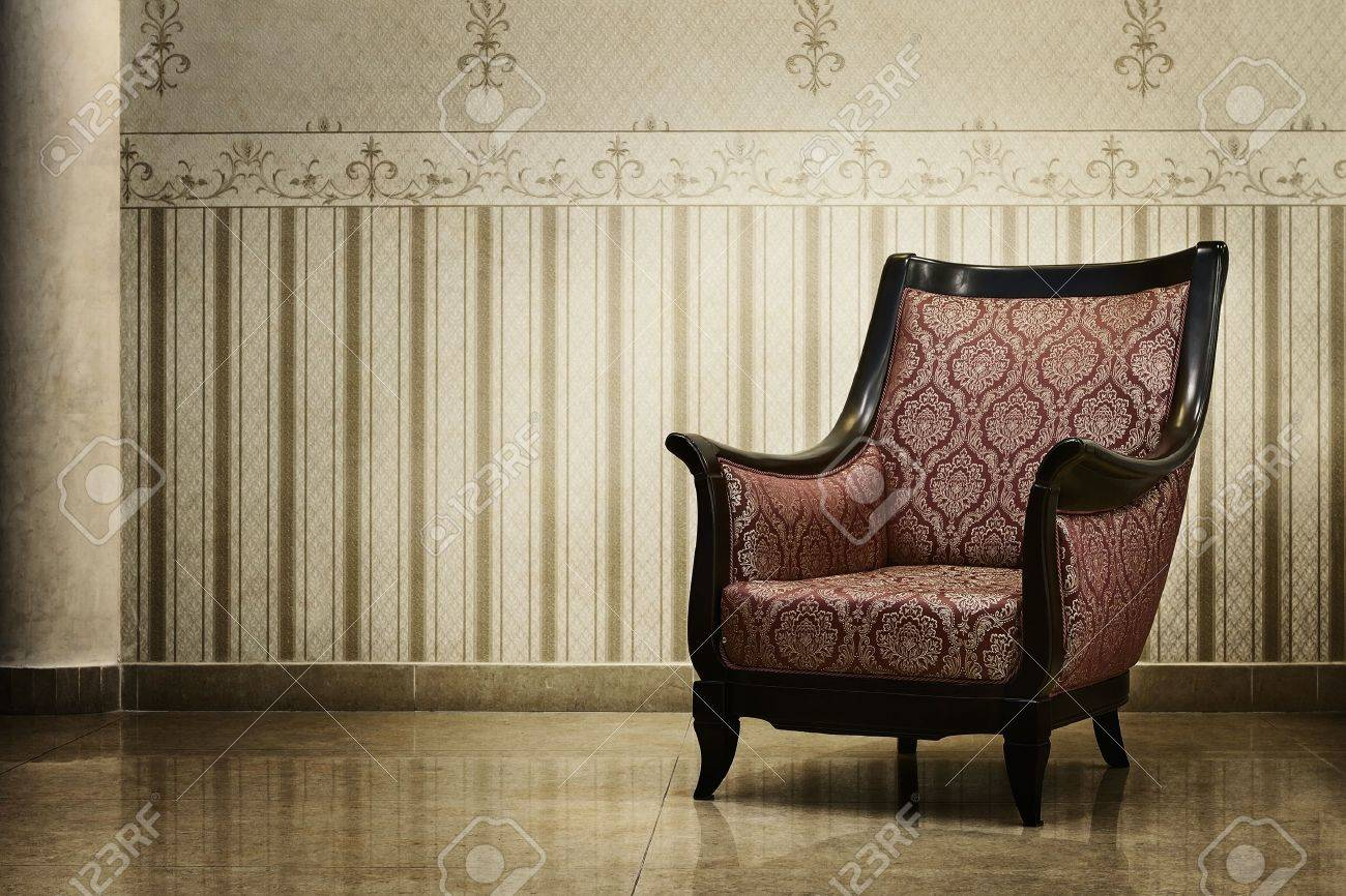 Empty chair in room - Vintage Empty Chair In Luxury Interior Stock Photo 11053679