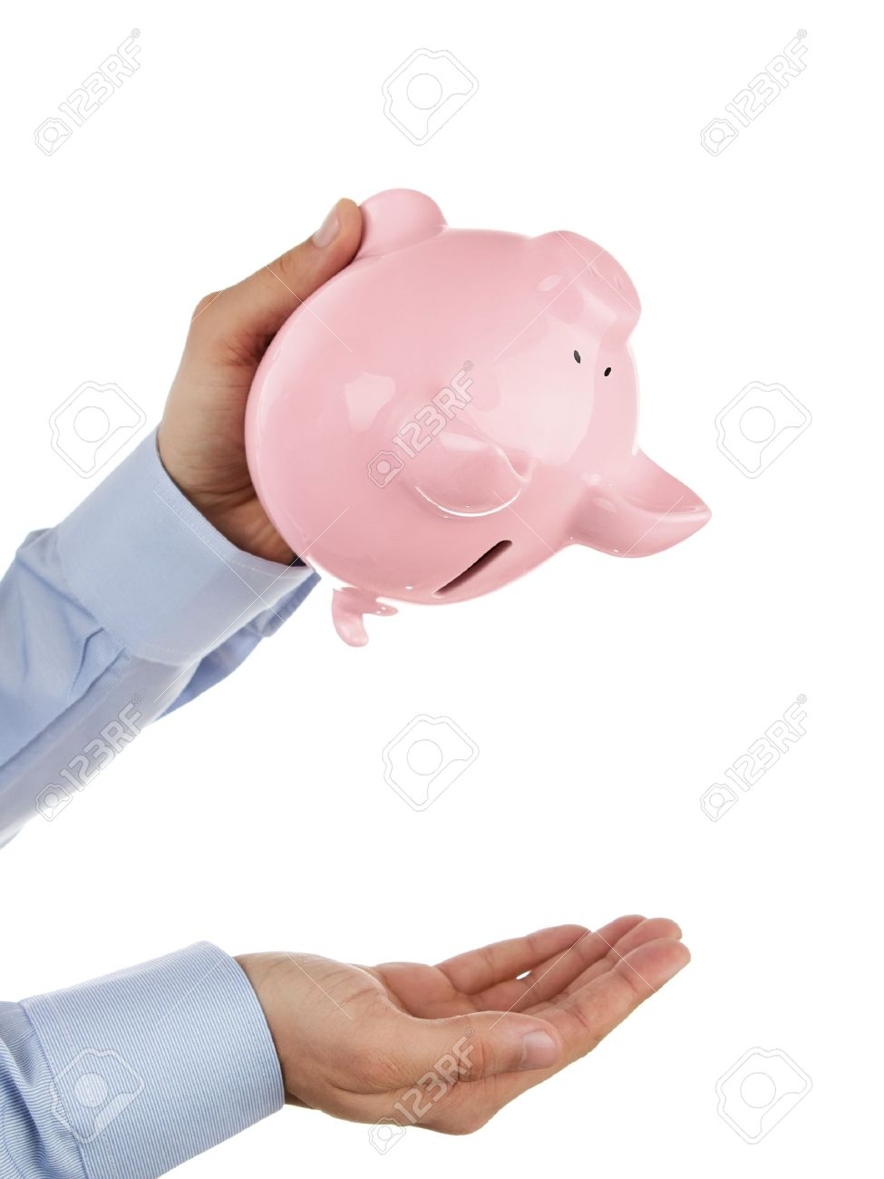 Shaking out empty piggy bank Stock Photo - 11557823