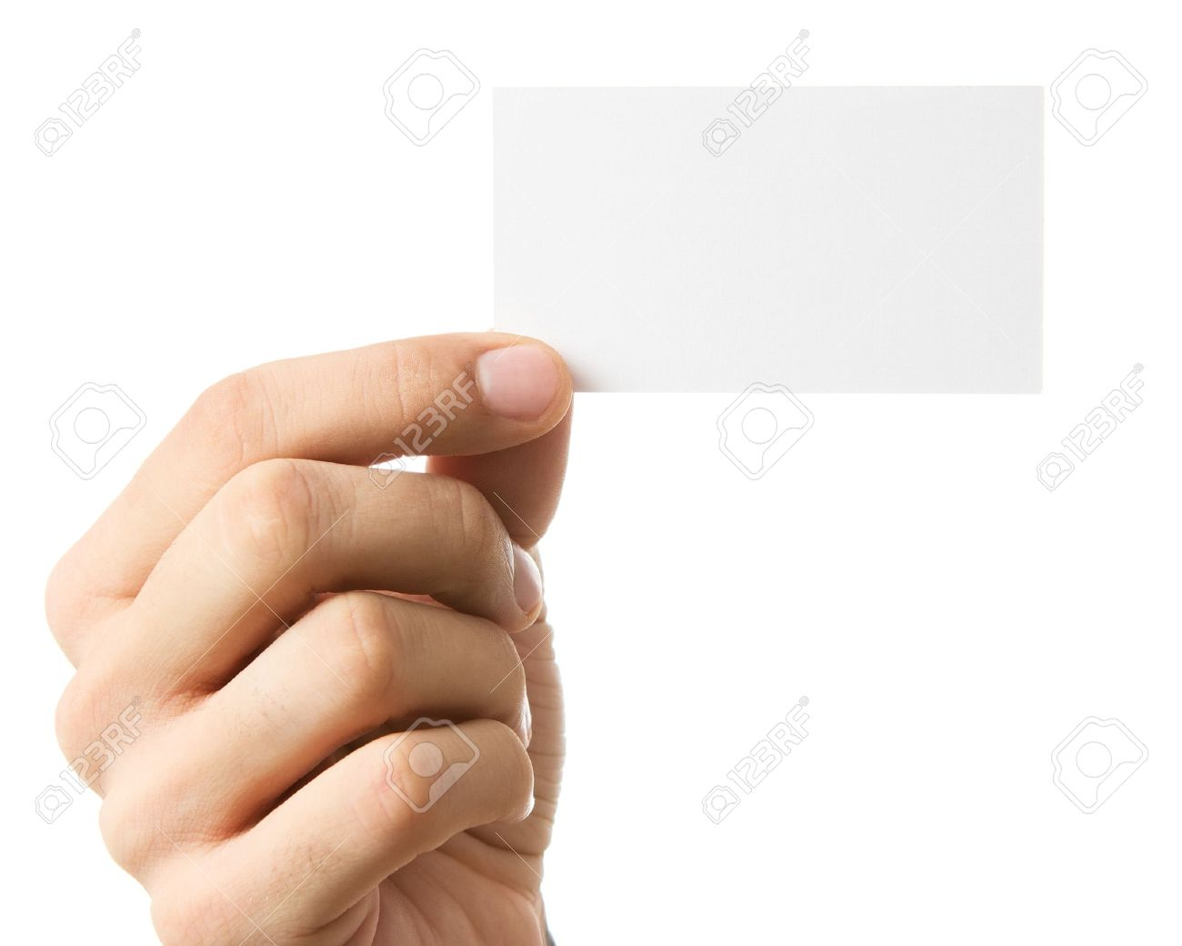 Close Up Of Human Hand Holding Business Card Isolated Stock Photo ...