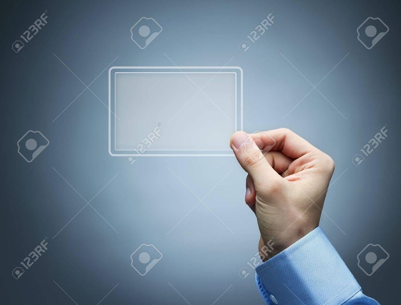 Human Hand Holding Virtual, Transparent Business Card Stock Photo ...