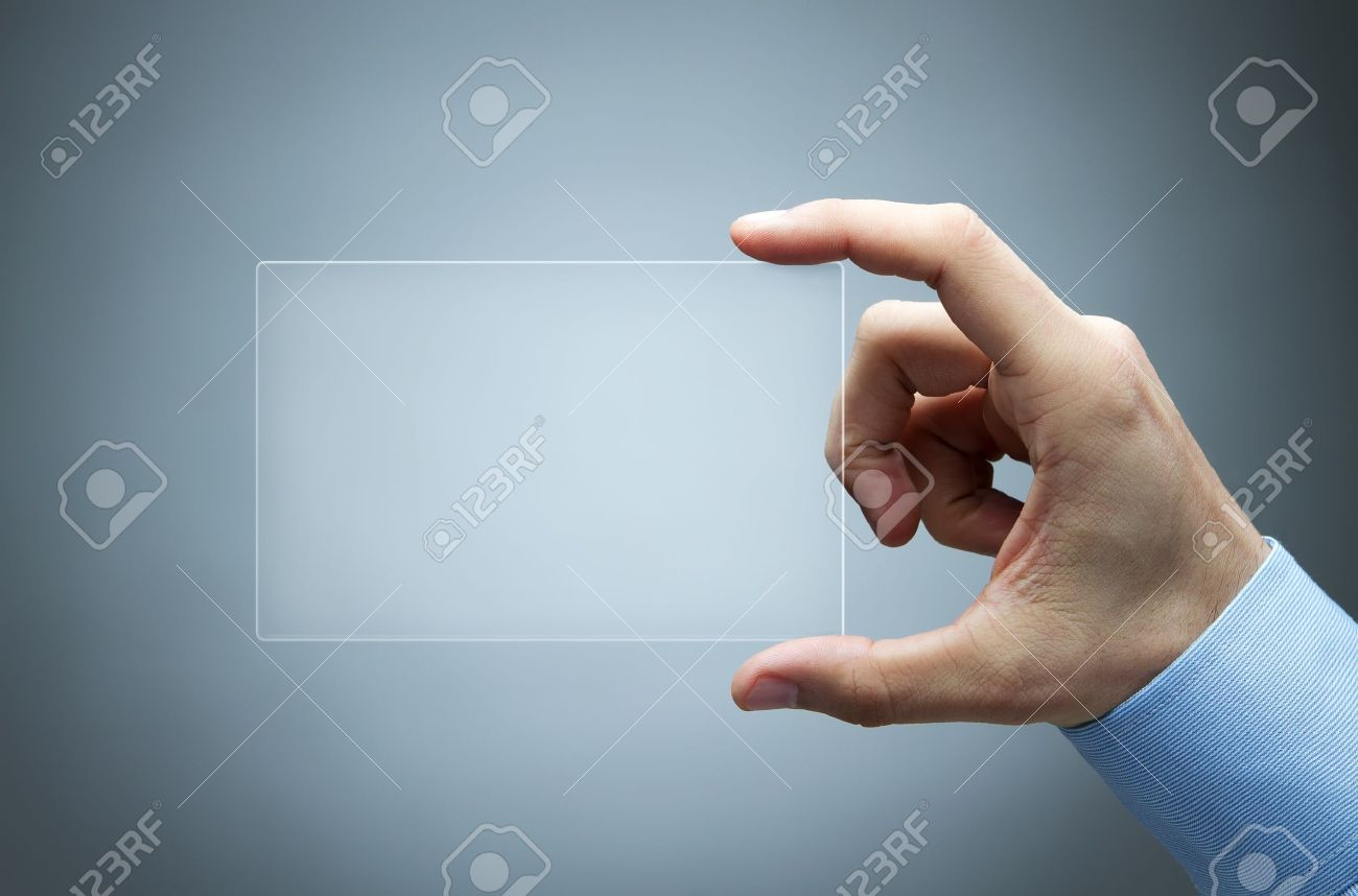 Human Hand Holding Futuristic Business Card Stock Photo, Picture And ...