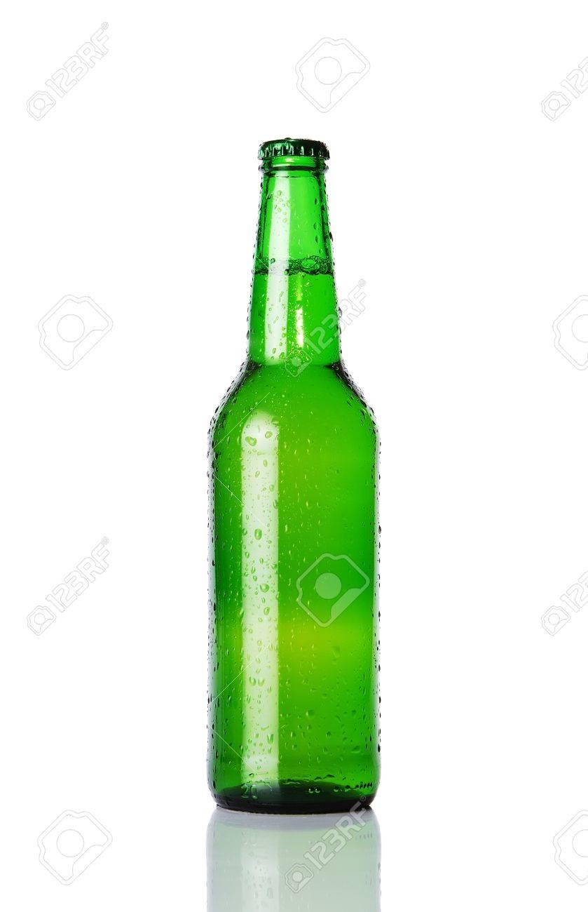 Wet beer bottle isolated on white background Stock Photo - 12000652
