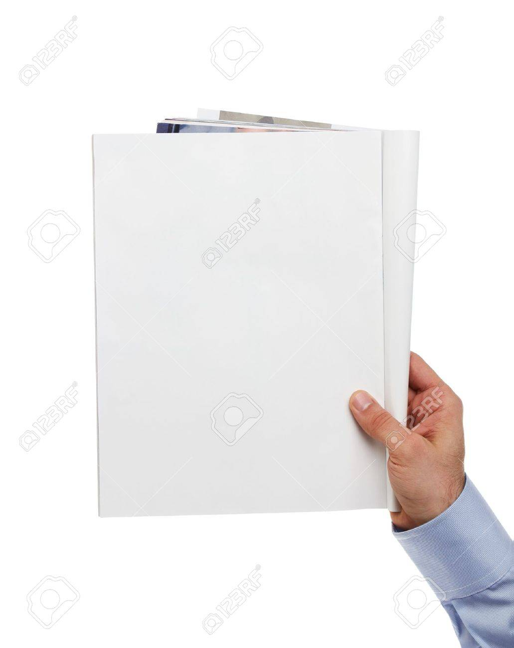 Human hand holding blank magazine with copy space Stock Photo - 12156483
