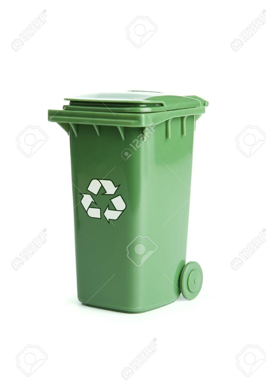 Green recycle bin isolated on white background Stock Photo - 12954575
