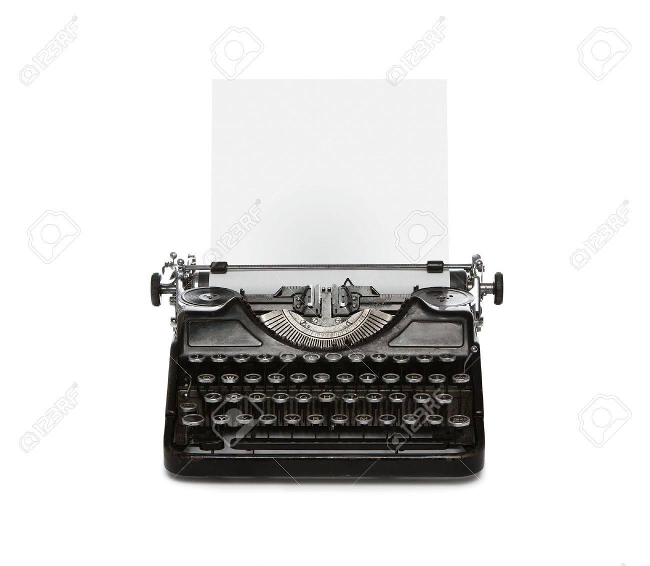 Retro Rostigen Schreibmaschine Mit Blatt Papier Isoliert Auf ...