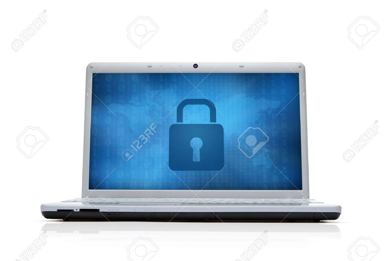 Internet security lock at the computer monitor isolated on white background Stock Photo - 14420671