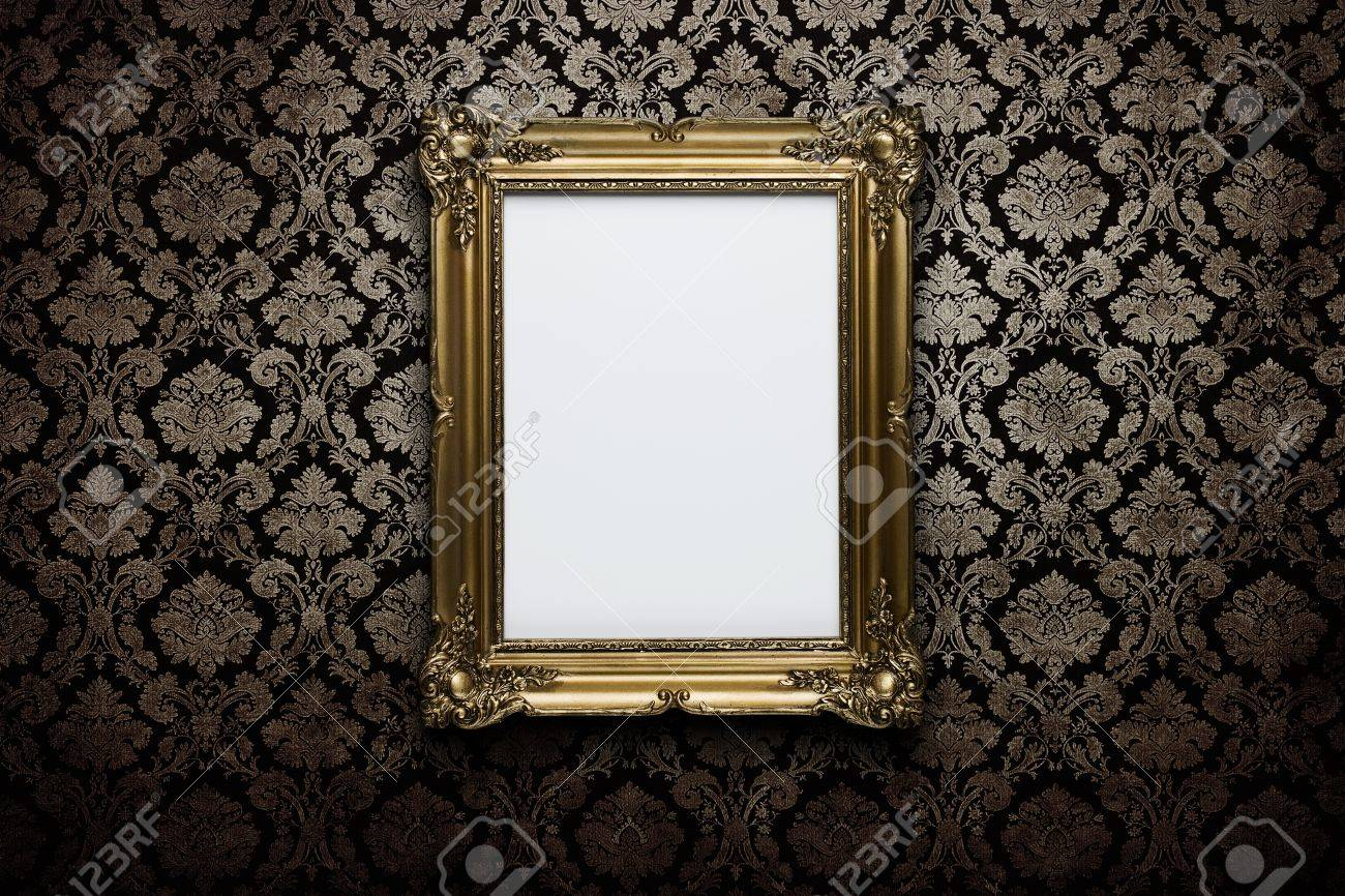 37cceee37b6 Ornate gold frame at grunge wallpaper with clipping path for the inside  Stock Photo - 14420662