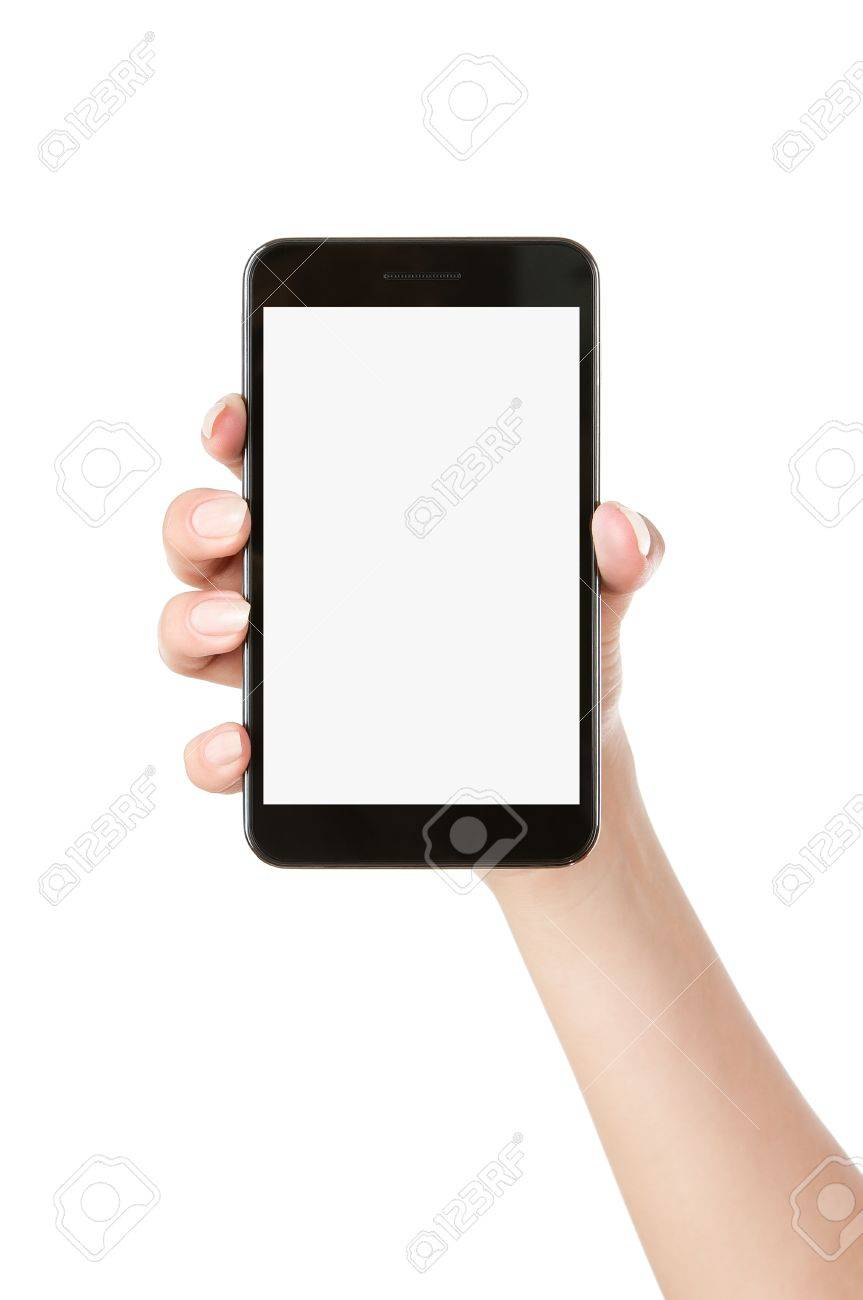 Woman hand holding blank mobile smart phone isolated on white background Stock Photo - 14420717