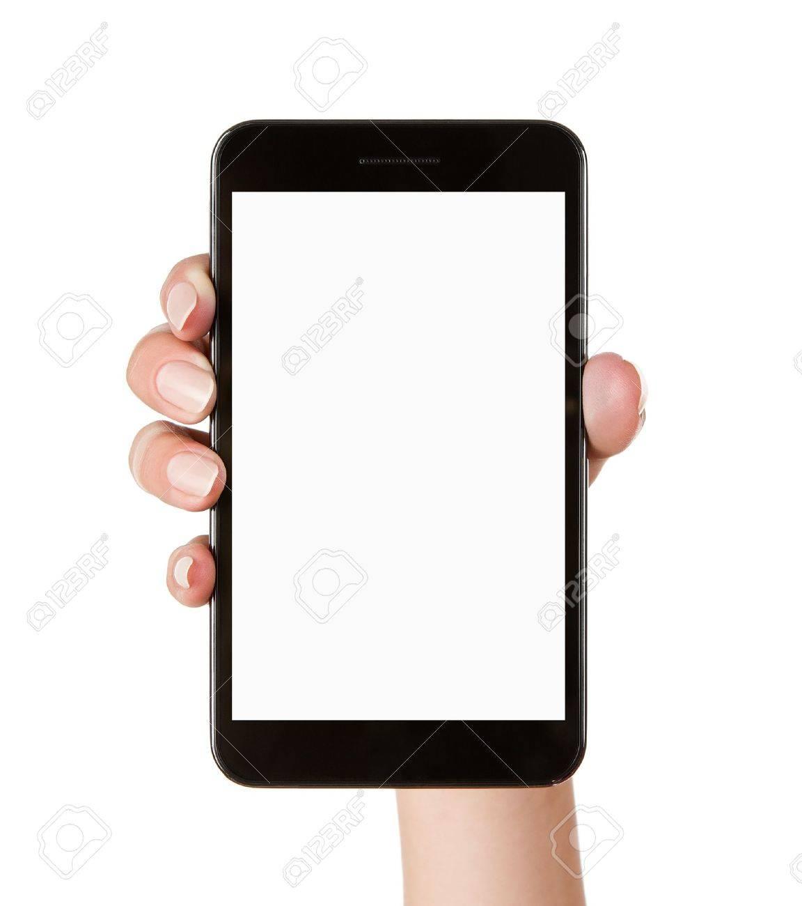 Female hand holding blank mobile smart phone isolated on white background Stock Photo - 14484925
