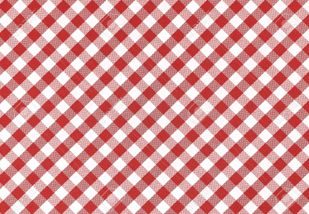 Classic Linen Red And White Checked Tablecloth Texture With Copy Space  Stock Photo   14555769