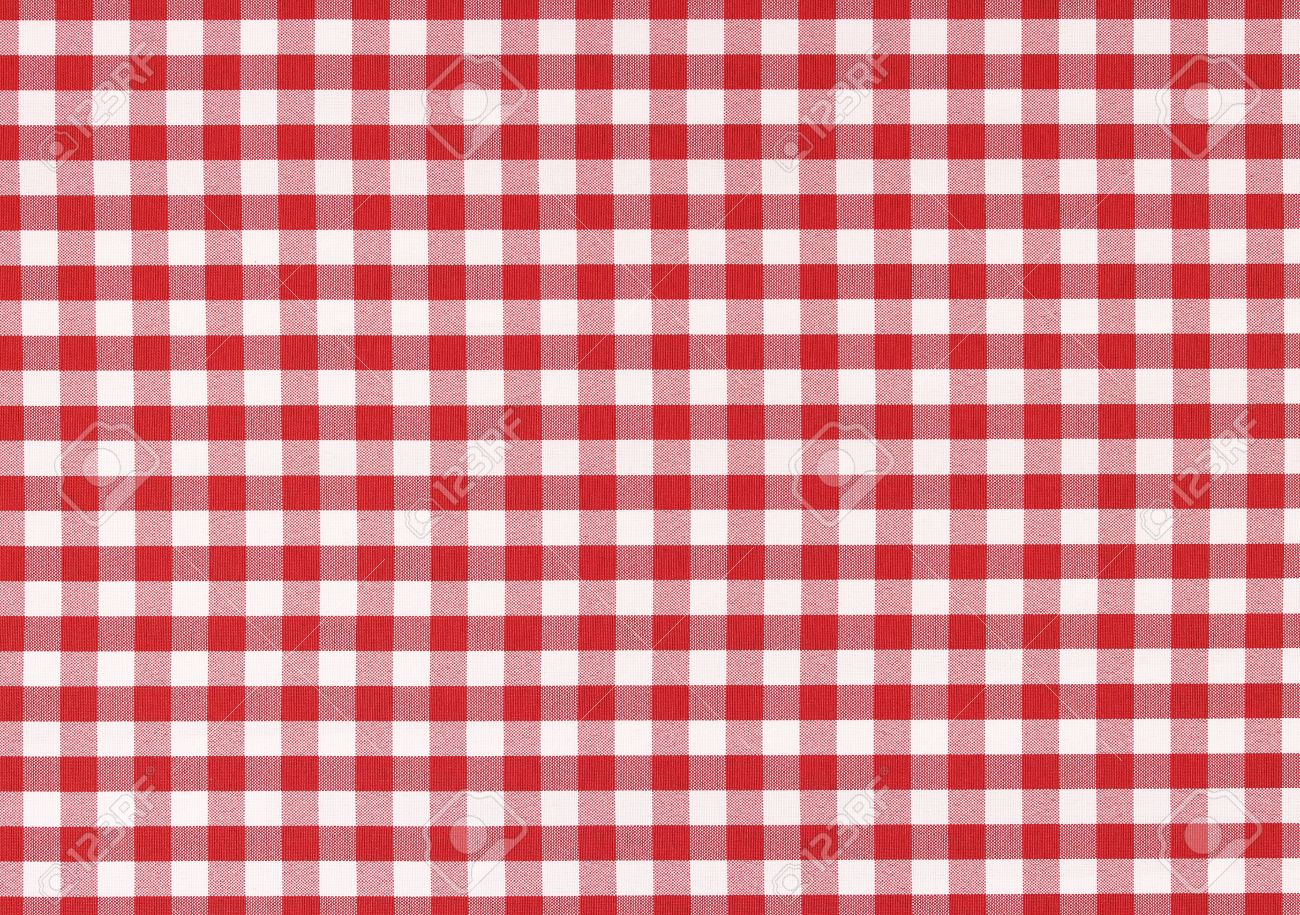 Exceptional Linen Tablecloth: Classic Linen Red And White Checked Tablecloth Texture  With Copy Space