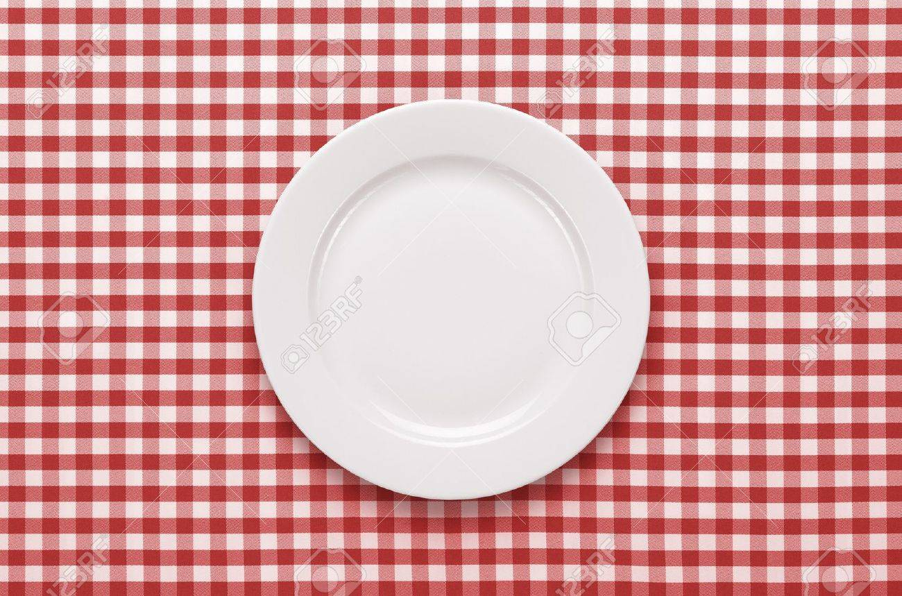 Empty Plate At Classic Checkered Tablecloth Stock Photo   14595214