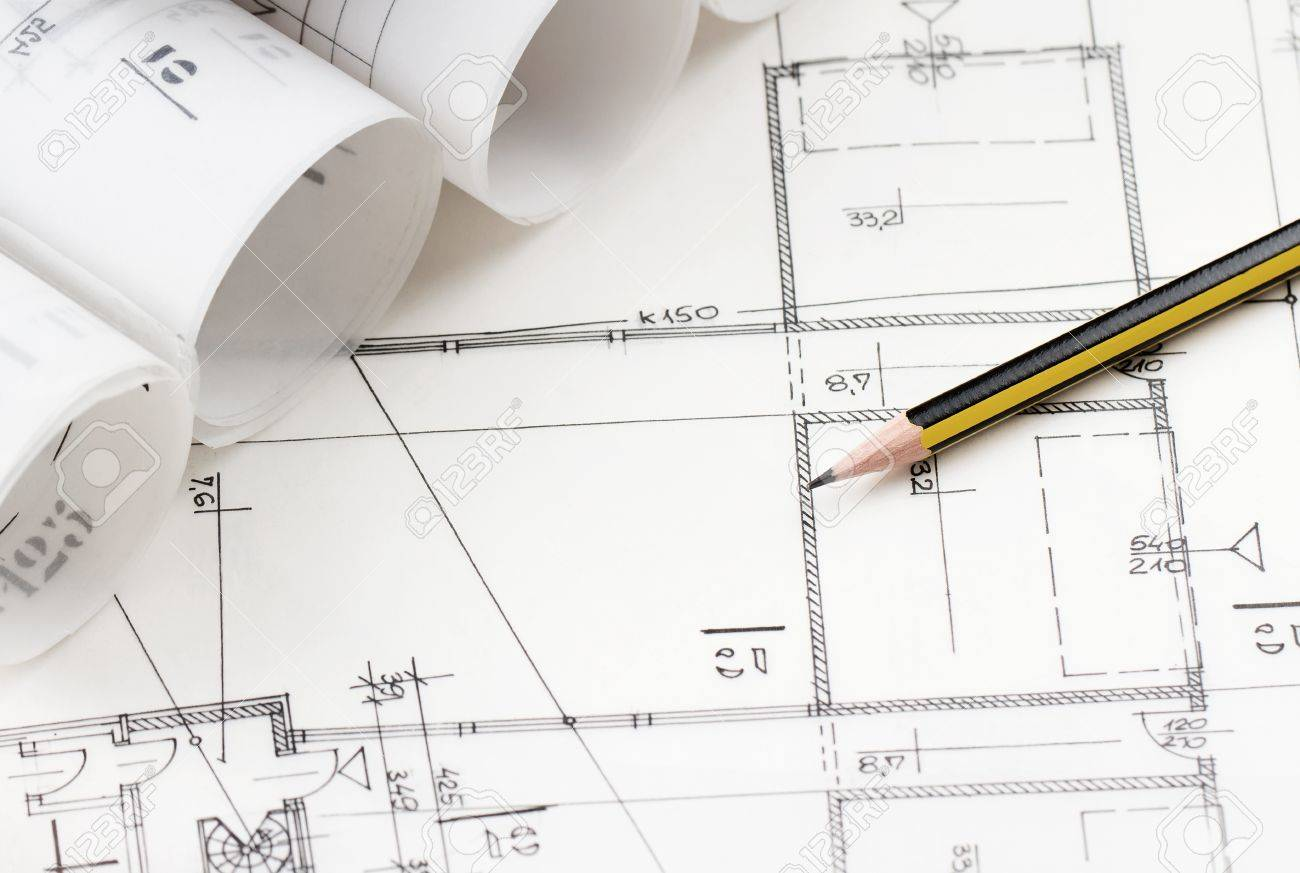 architectural drawings. Close Up Of Yellow Pencil Over Architectural Drawings Stock Photo - 14915533
