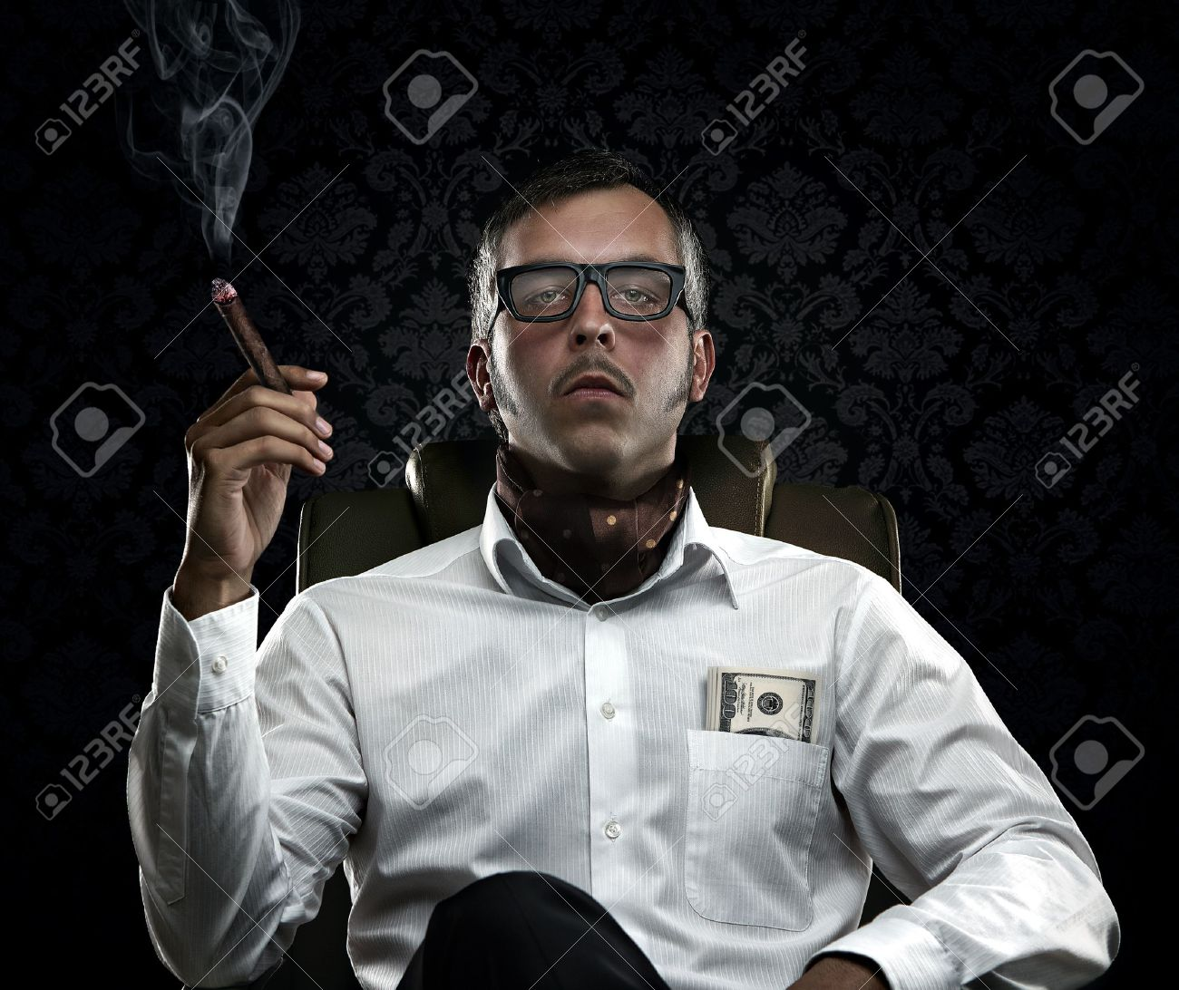 Funny rich man smoking a cigar - 15032474