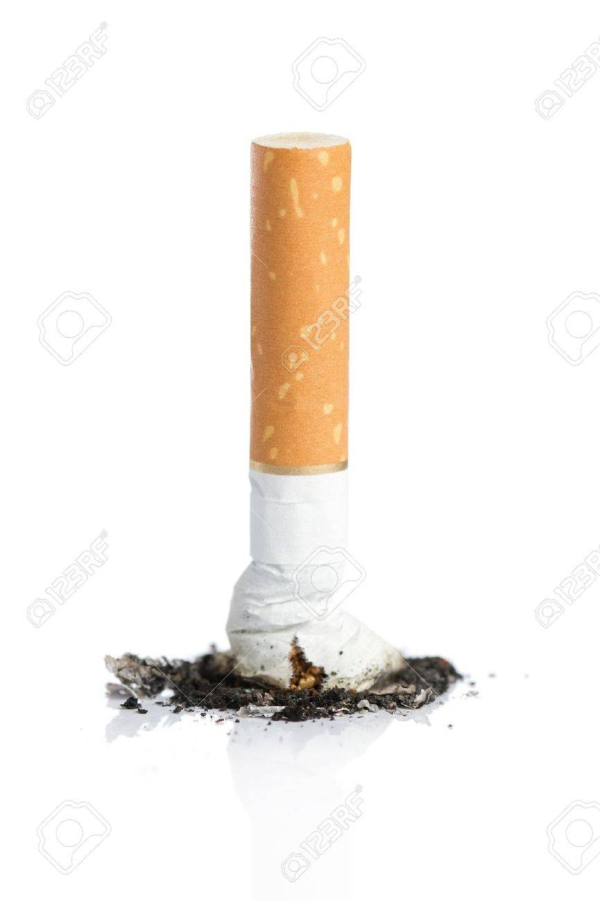 Close up of cigarette with ash isolated on white background - 16246241