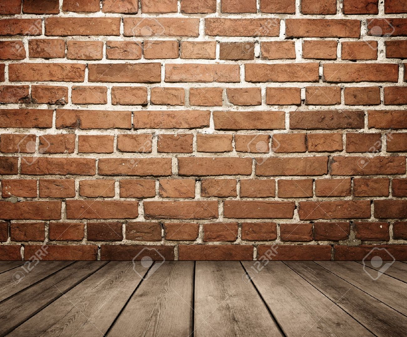 Grunge empty interior with brick wall and wooden floor Stock Photo - 16246245