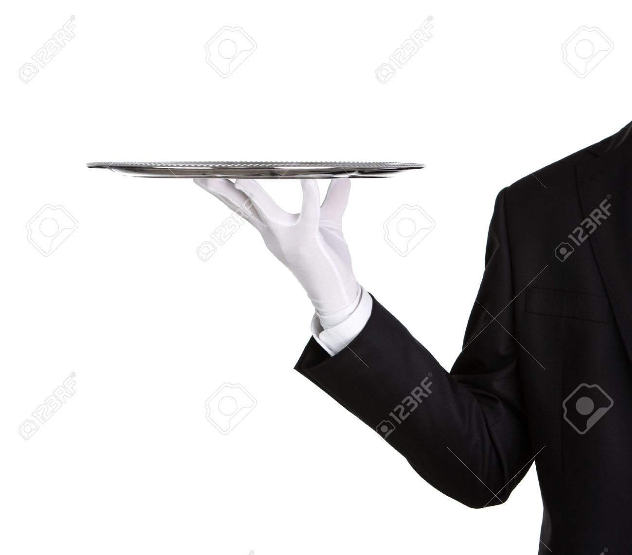 Waiter holding empty silver tray isolated on white background with copy space Stock Photo - 16519546