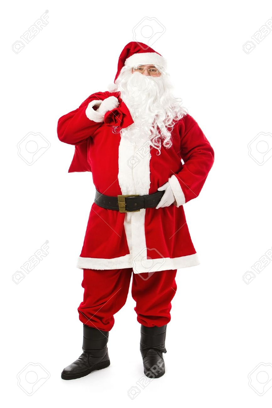 santa claus standing isolated on white background stock photo 16562957 - Santa Claus Santa Claus Santa Claus