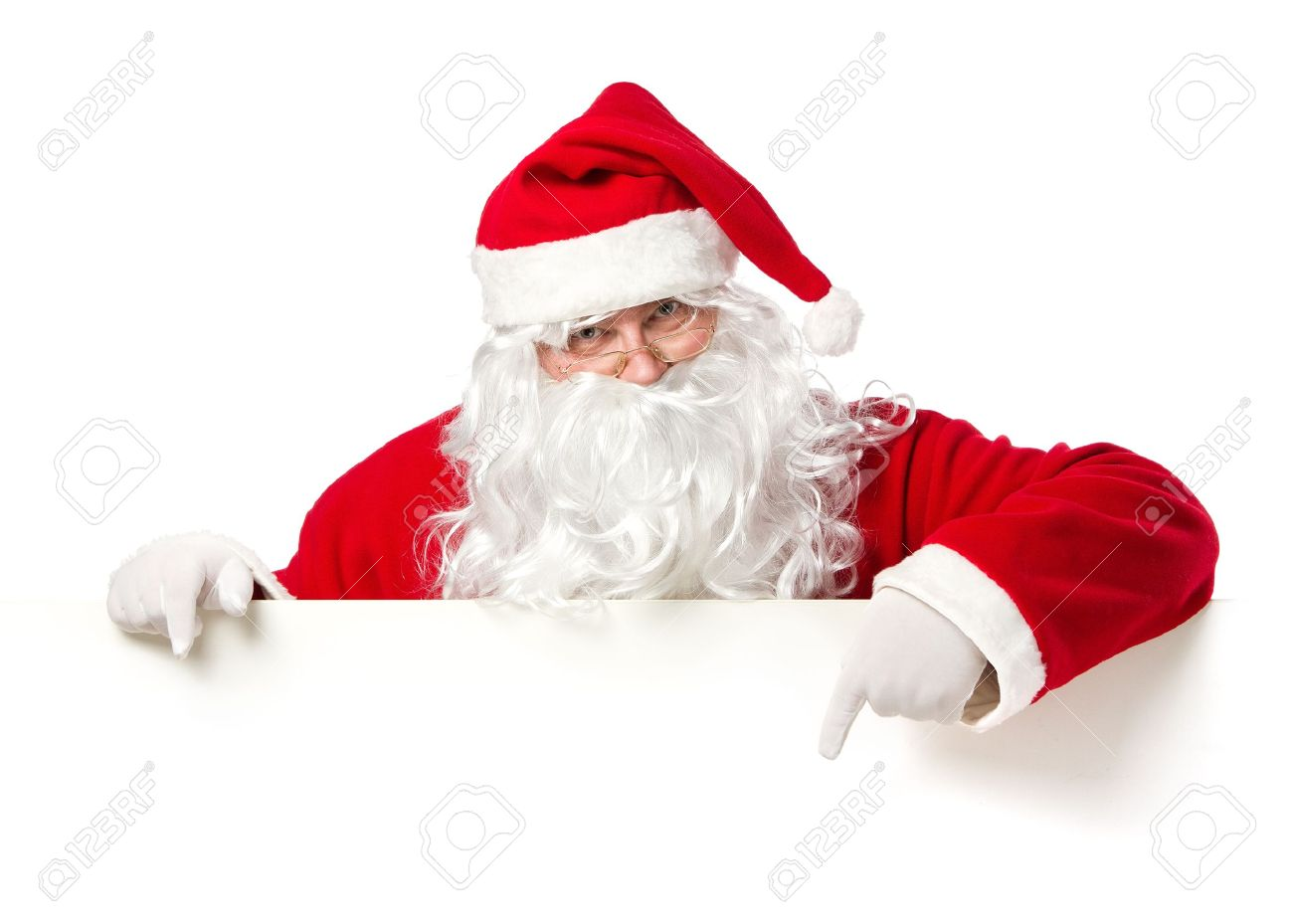 santa claus pointing in blank advertisement banner isolated on