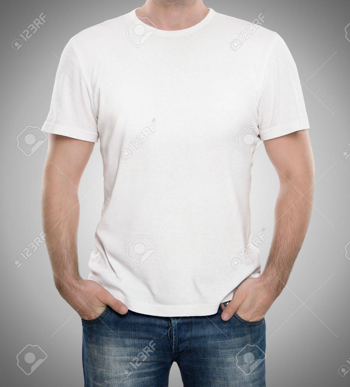 Man Wearing Blank T-shirt Isolated On Gray Background With Copy ...
