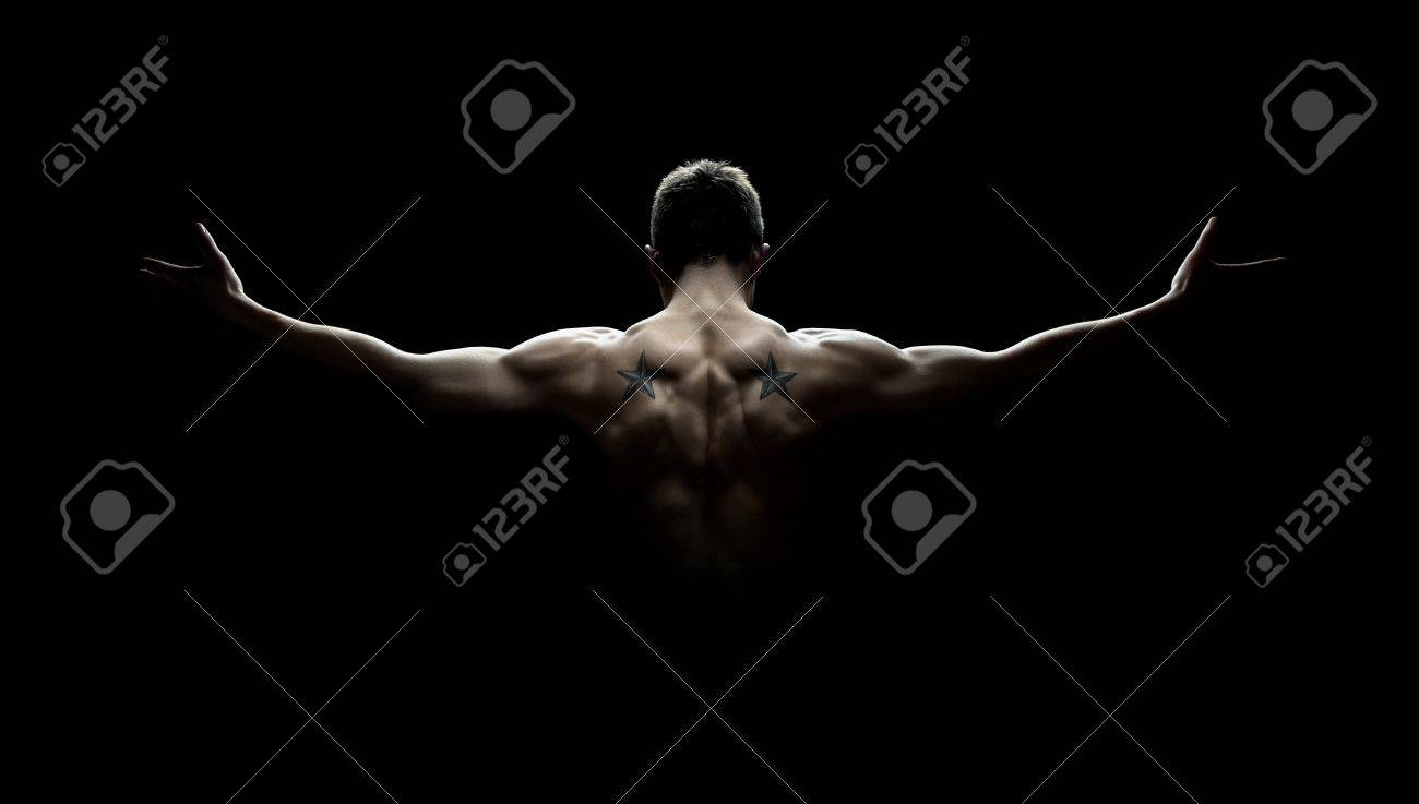 Background image stretch - Stretch Out Rear View Of Healthy Young Man With His Arms Stretched Out Isolated On