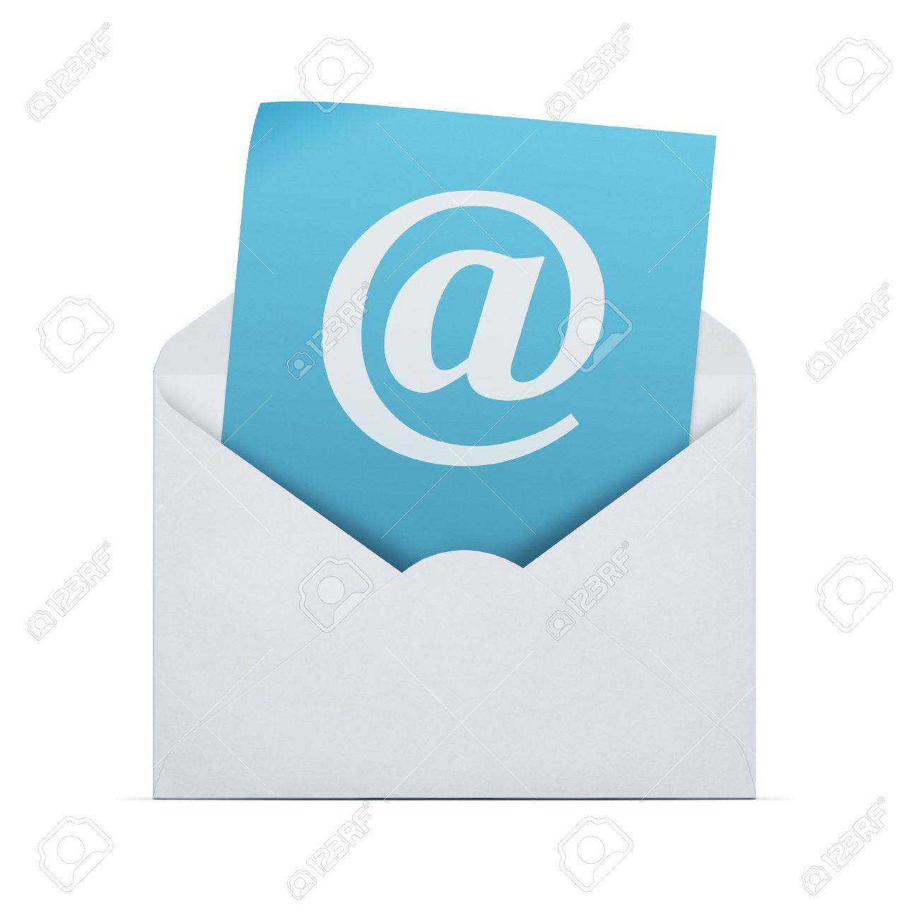 Email background image - Open Envelope With Email Note Isolated On White Background With Clipping Path Stock Photo 18708472