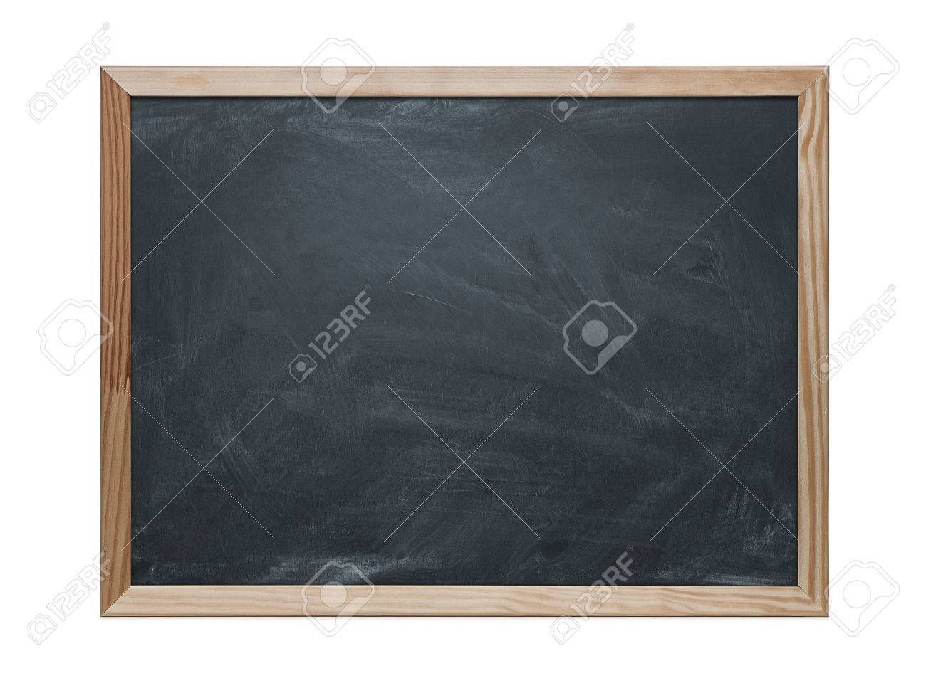 Close up of blank chalkboard isolated on white - 24907654