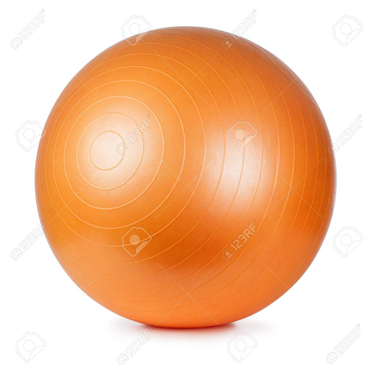gros plan d'un ballon de fitness orange isolé sur fond blanc banque