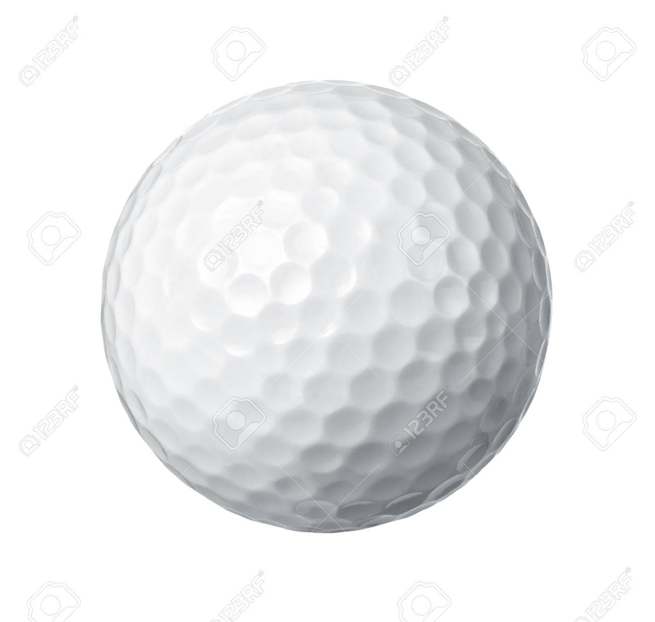 close up of a golf ball isolated on white background stock photo