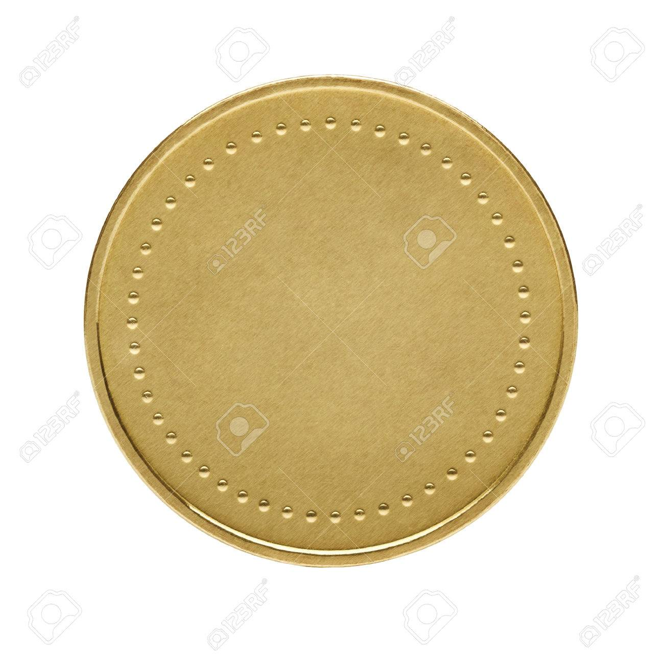 Close up of golden coin isolated on white - 27483634