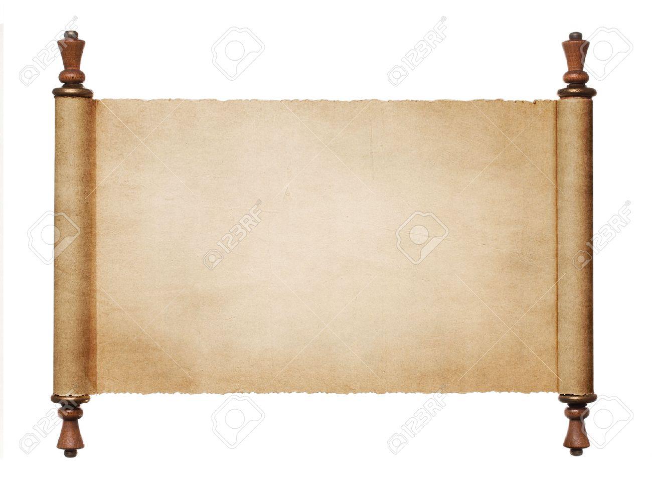 Jahrgang Leere Papierrolle Auf Weißem Hintergrund Mit Kopie Raum ...