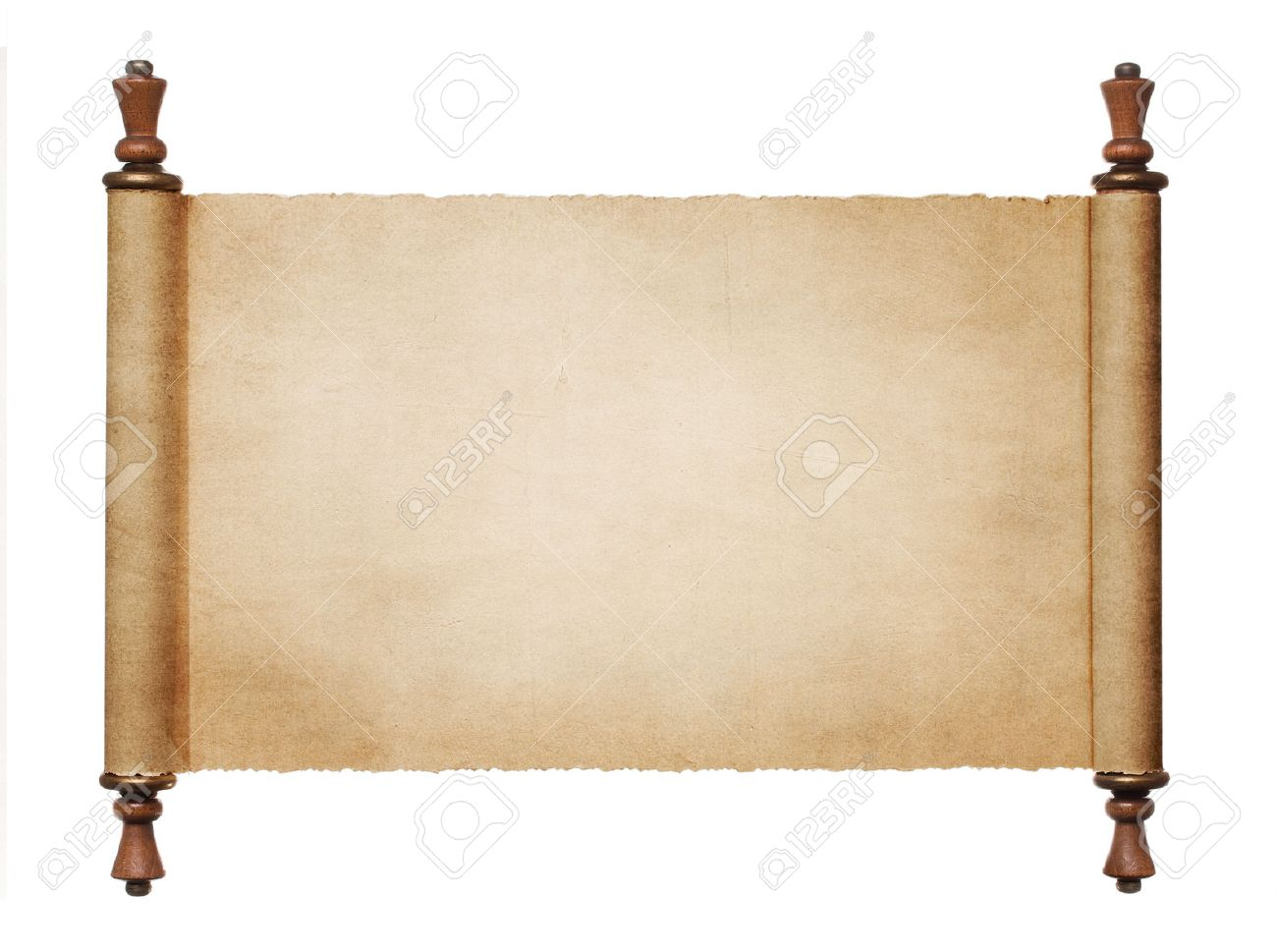 Vintage Blank Paper Scroll Isolated On White Background With Stock