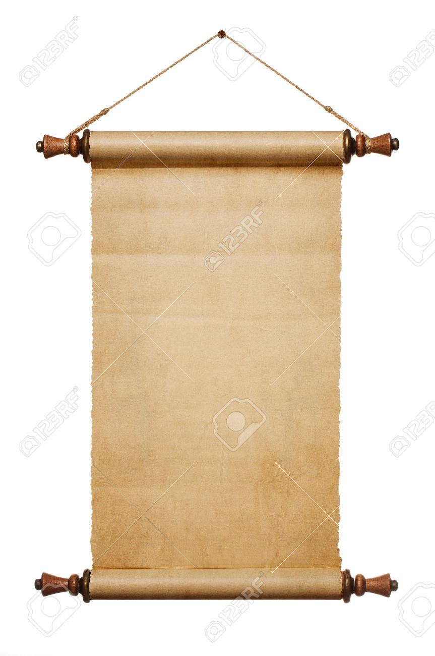 Vintage blank paper scroll isolated on white background with copy space - 31768522