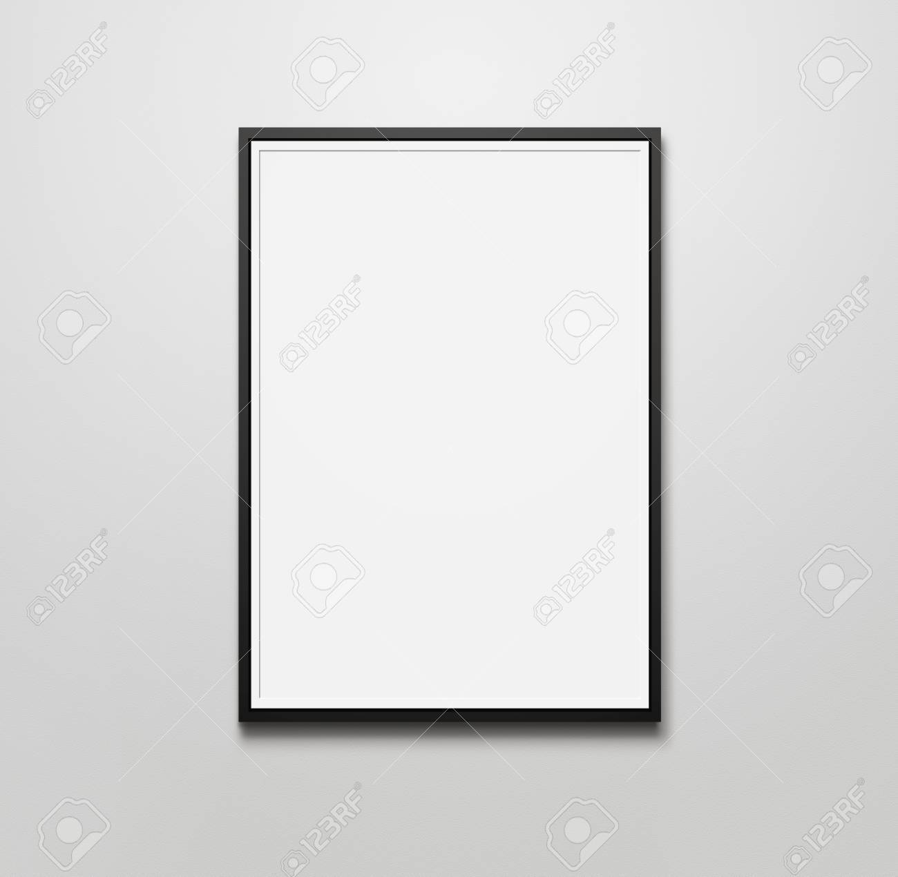 Blank picture frame at the wall with copy space and clipping path for the inside - 32279760