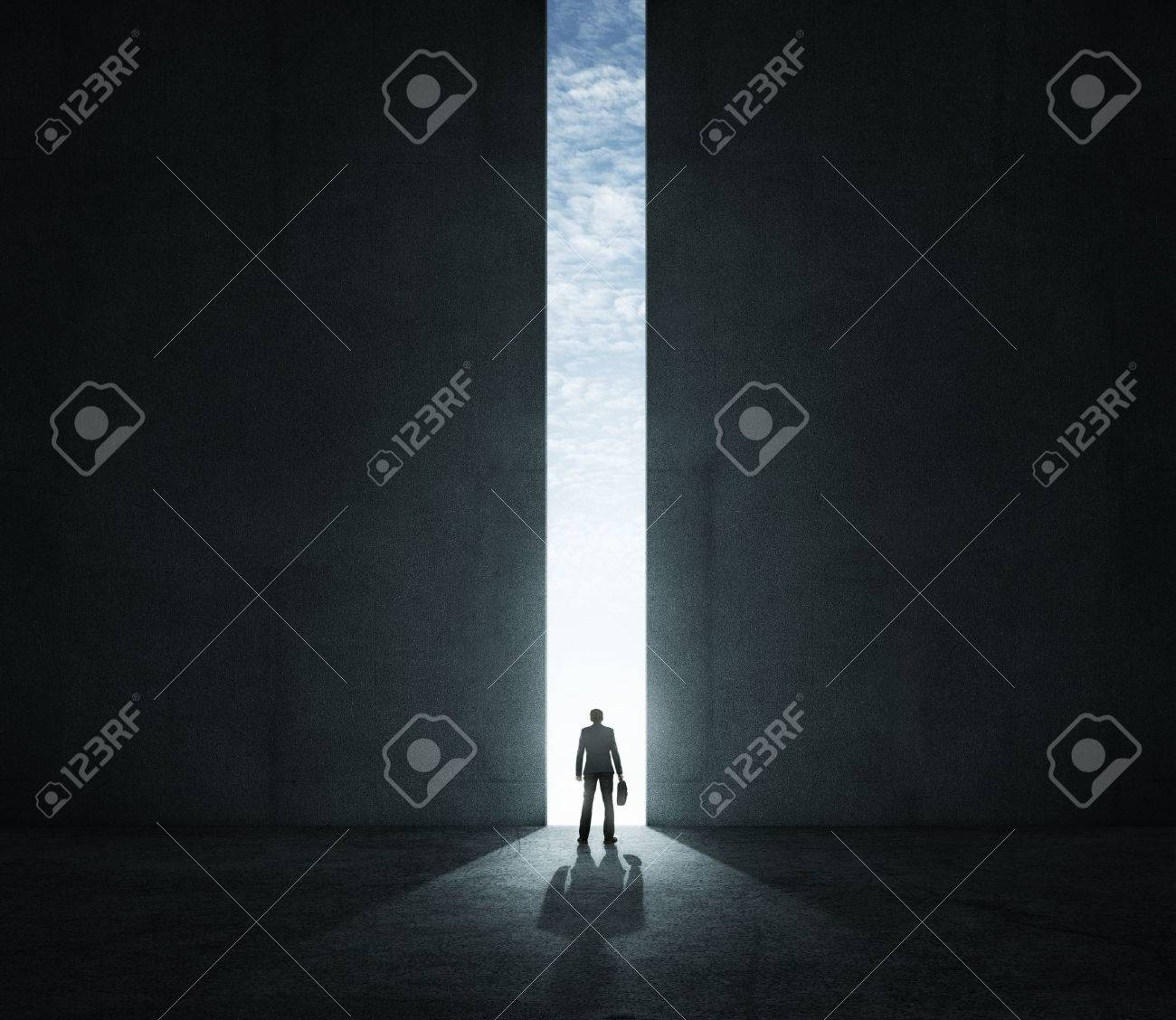 Lonely businessman standing in front of the huge gate Standard-Bild - 36438605