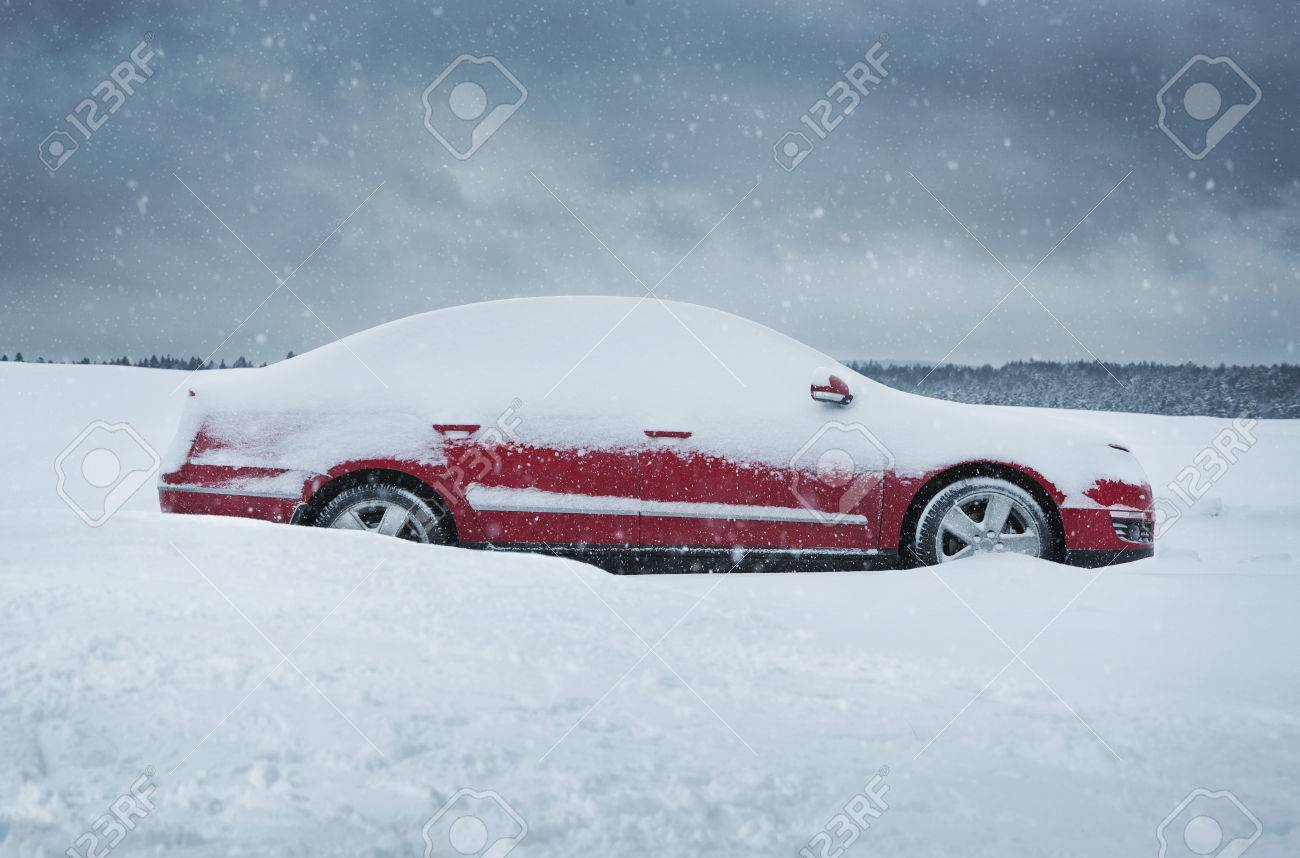 Winter, close up of red car covered with the snow - 36438377