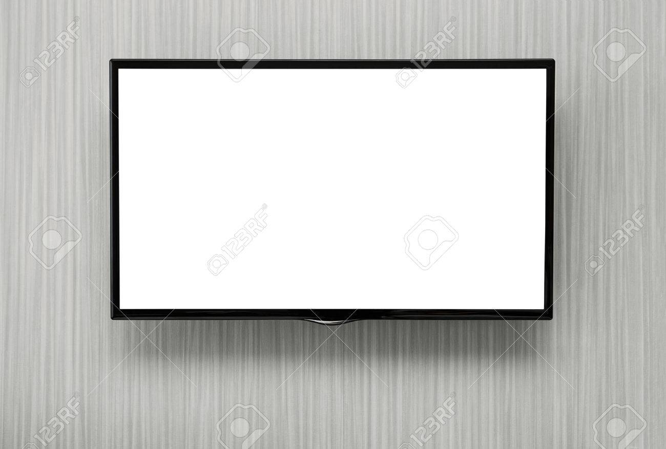 Blank lcd TV hanging at the wall with copy space Standard-Bild - 36438379