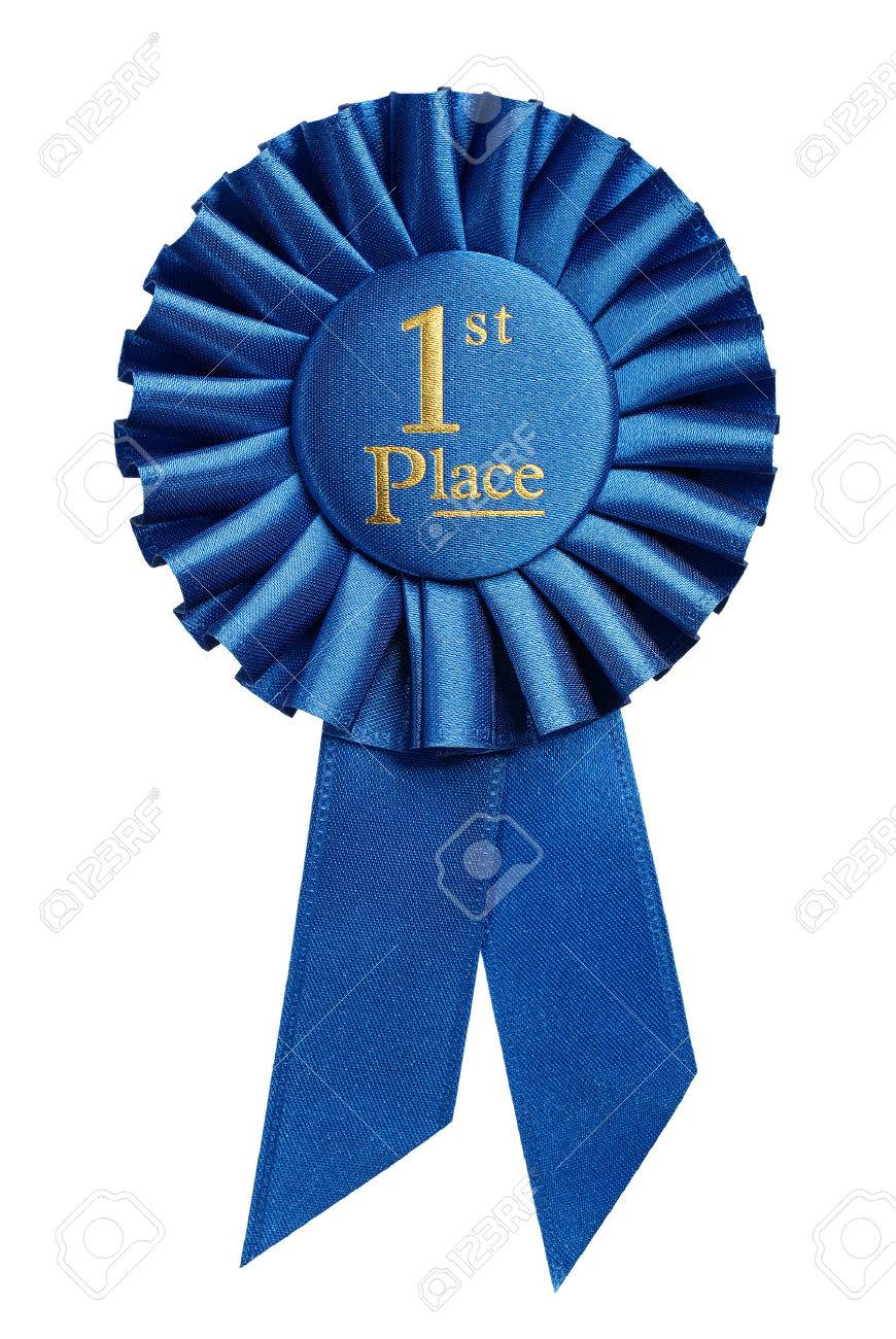 First place award, rosette isolated on white background Standard-Bild - 36438380