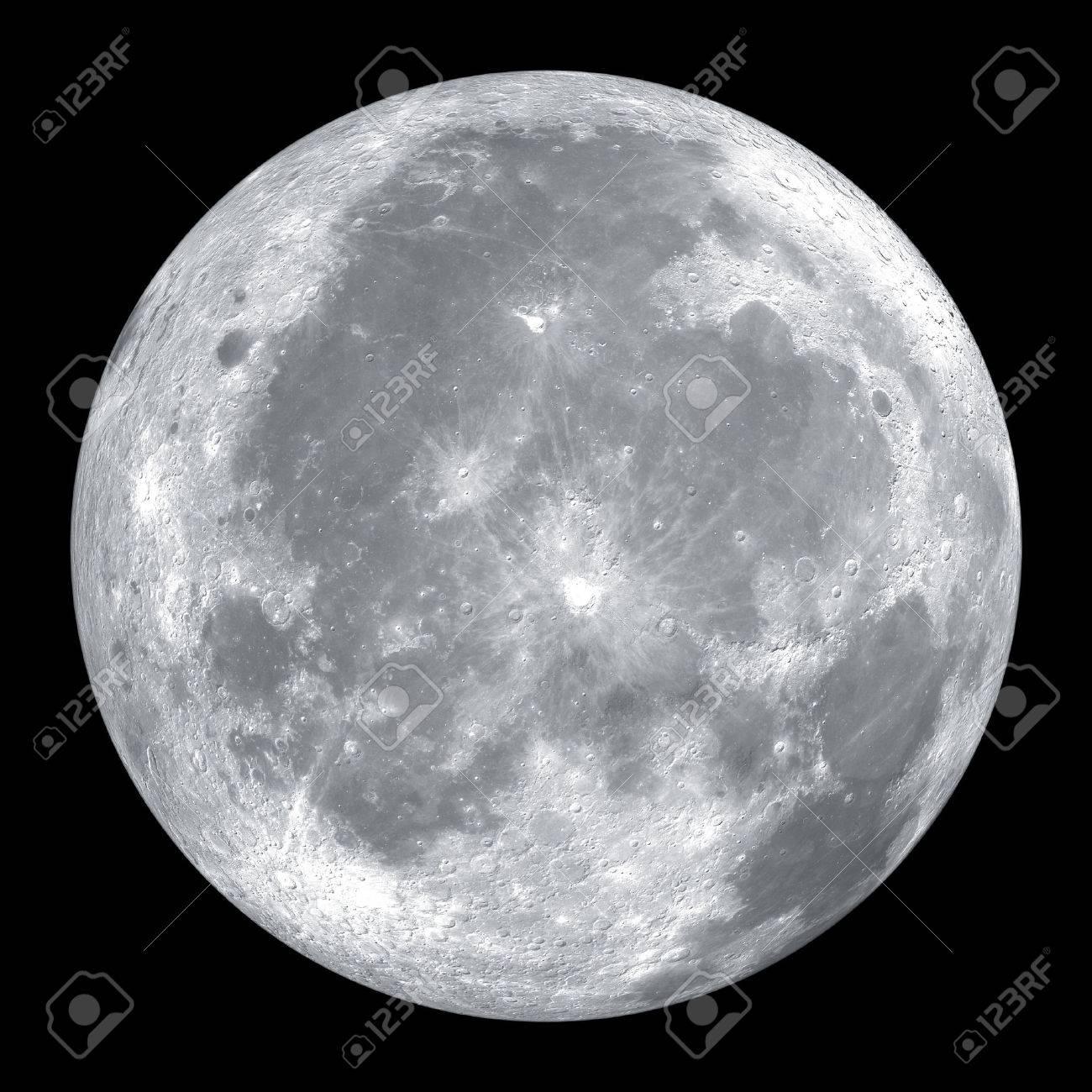 Schließen Sie oben vom Mond auf schwarzem Hintergrund isoliert Standard-Bild - 37771819