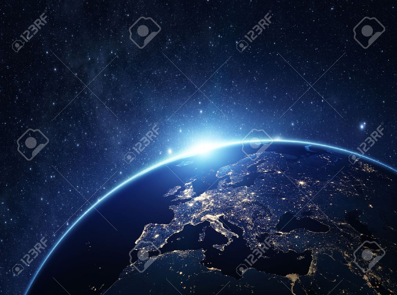 Planet earth from the space at night . Some elements of this image furnished by NASA Standard-Bild - 39204194