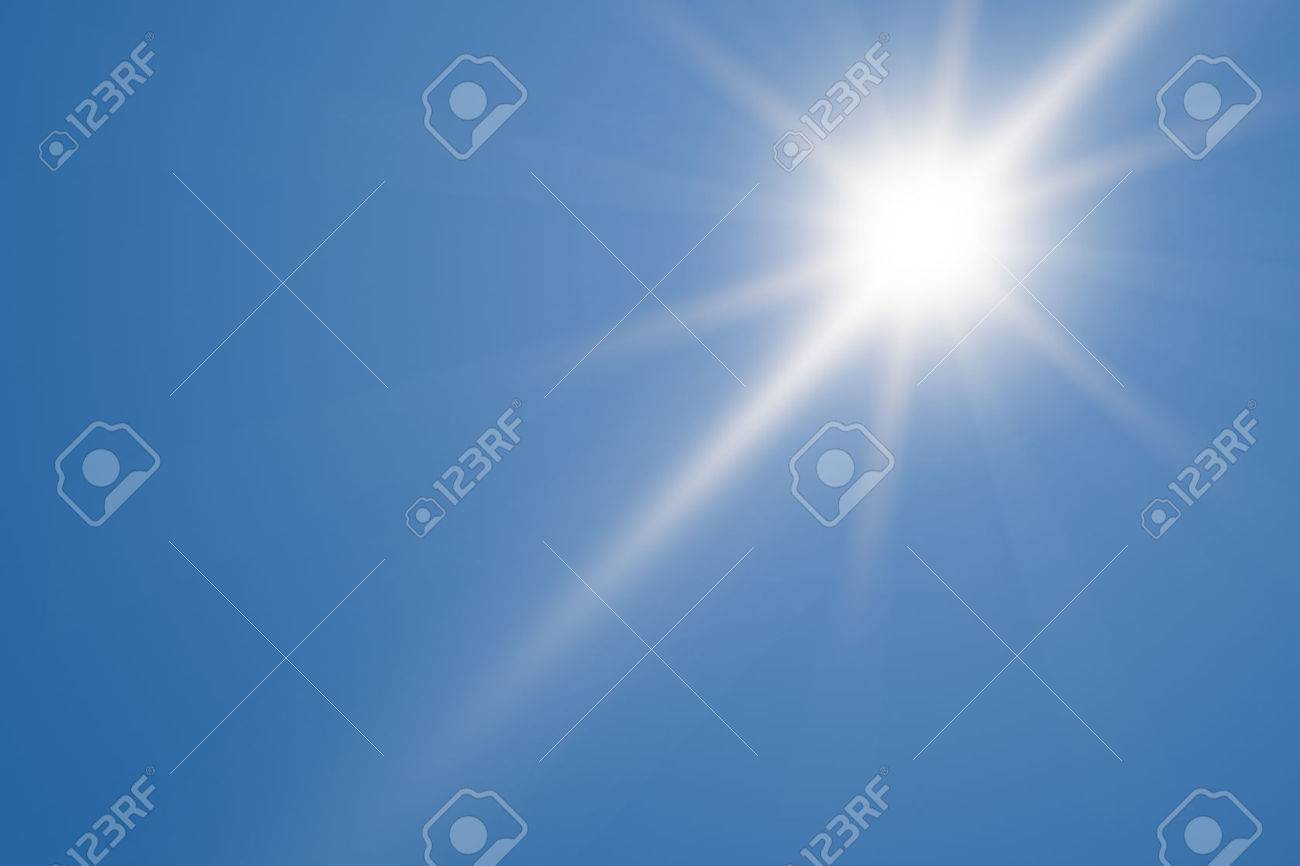 Heat, sun shining at the clear blue sky with copy space Standard-Bild - 44171972