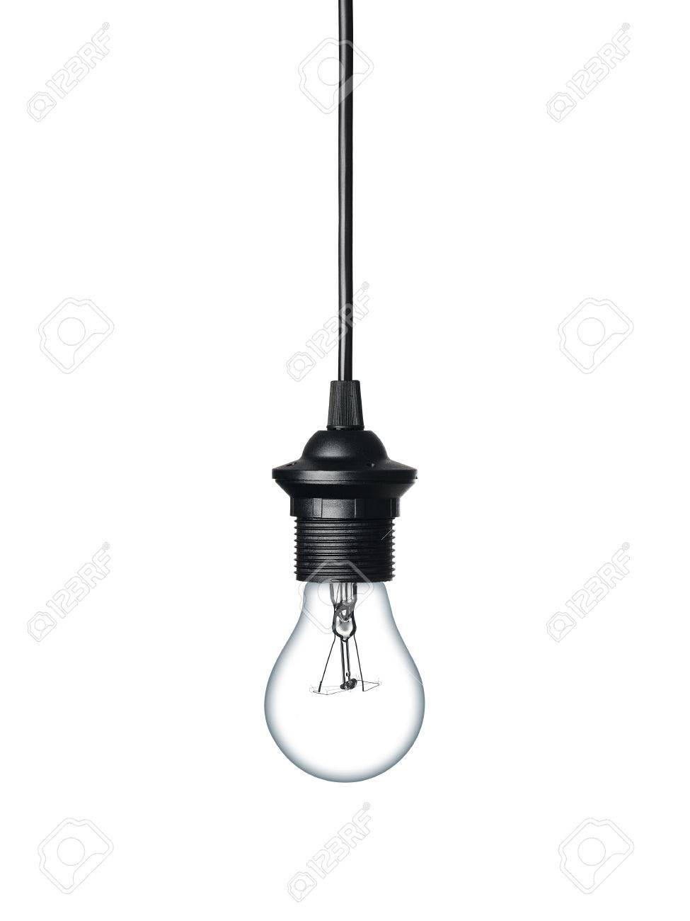 Close up of a light bulb hanging on the cable isolated on white background - 45361111