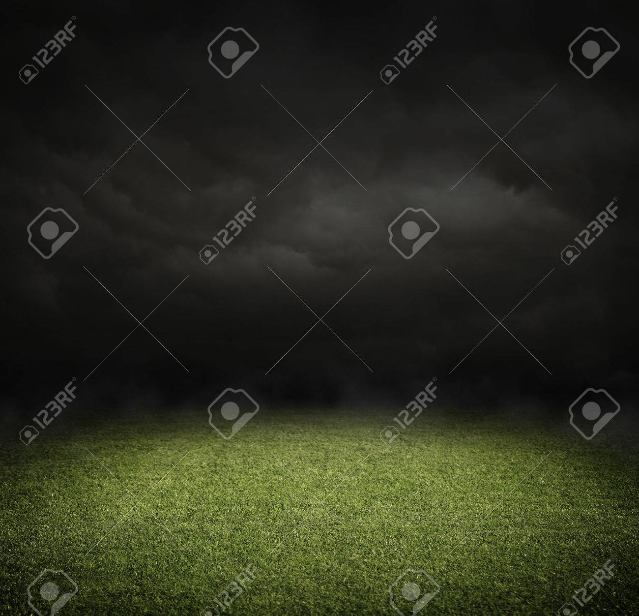 Soccer or football field at night with copy space - 46074228