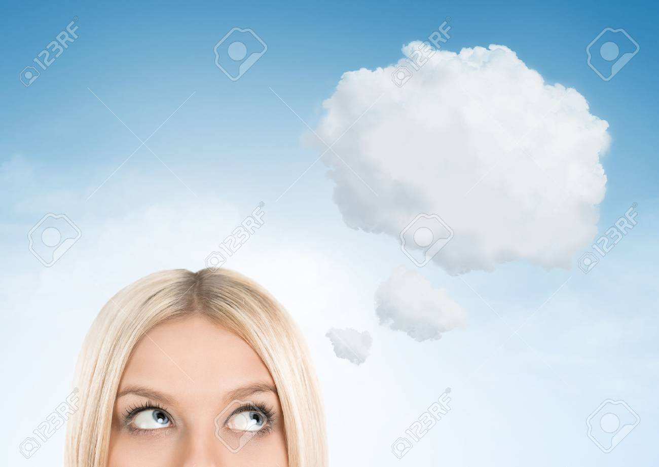 Close up of blonde woman looking up towards blank thought bubble with copy space - 46090148