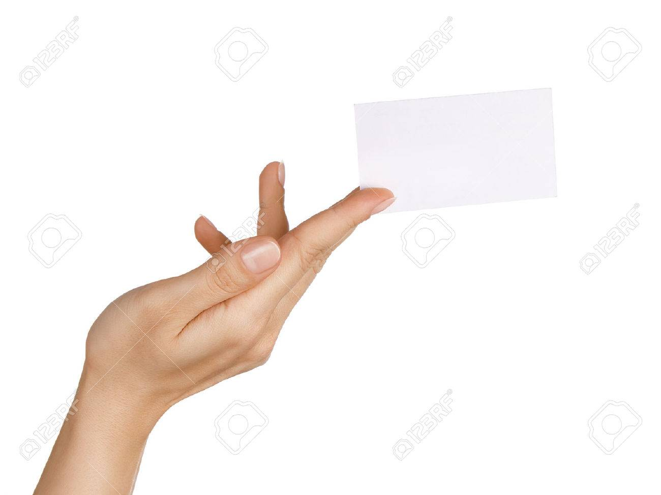 Close up of female hand holding/ giving blank business card isolared on white background Standard-Bild - 46509363