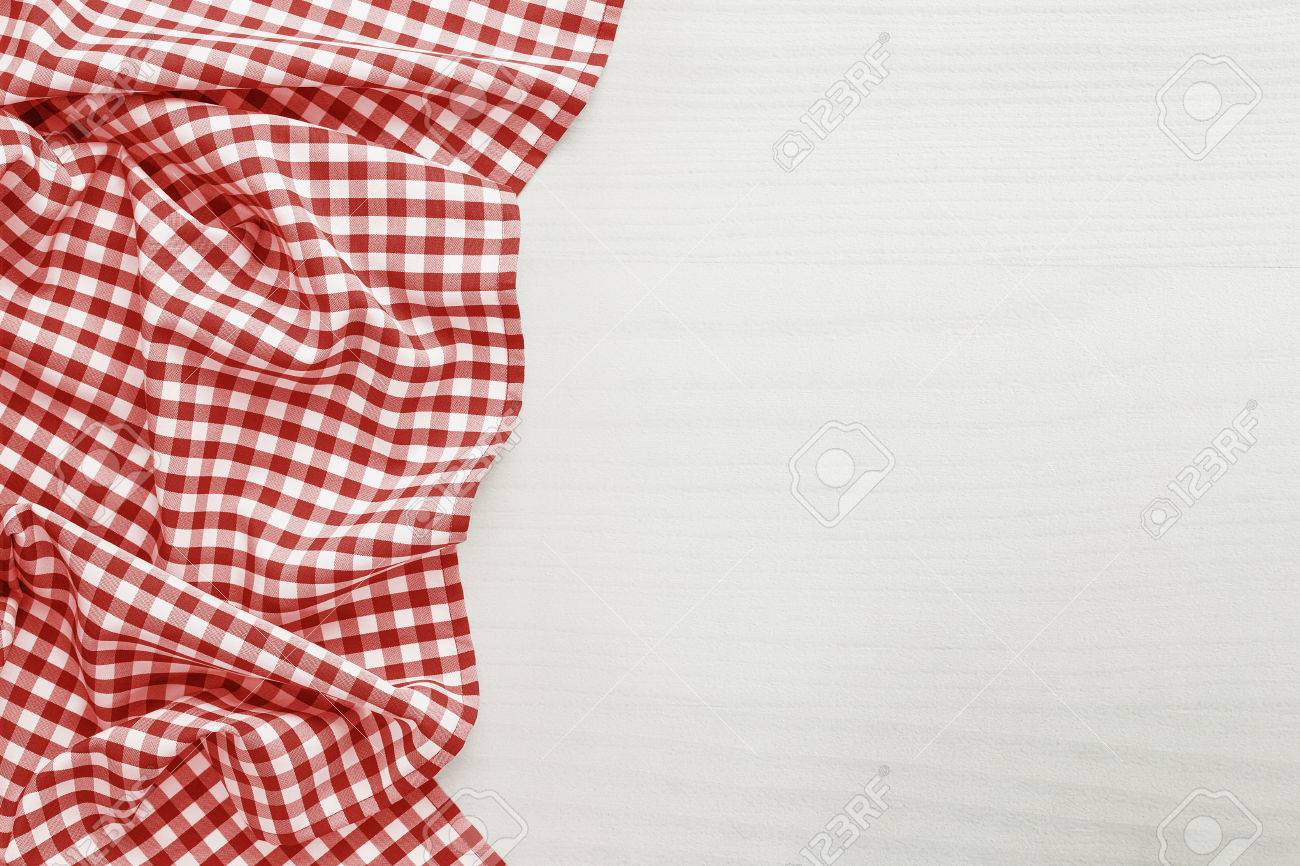 Food background, high angle view of white wooden table and red folded, checkered tablecloth white copy space - 46713006